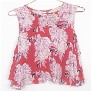 Dance&Marvel Cropped Sleeveless Top Bright Florals